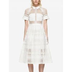 Choies White Lace Panel Pointed Collar High Waist Midi Dress (55 AUD) ❤ liked on Polyvore featuring dresses, gowns, white, calf length dresses, lace panel dress, midi evening dresses, white evening dresses and white evening gowns