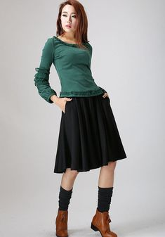 Black linen skirt woman midi skirt custom made pleated by xiaolizi
