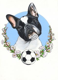 French Bulldog drawing by Jeroen Teunen, The Dog Painter. Acrylic , sketch , tattoo idea , soccer , dog , frenchie
