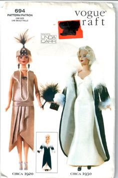 Vogue 694 7162  Circa 1920 1930 Linda Carr Designer Barbie Doll Clothes sewing pattern  by mbchills
