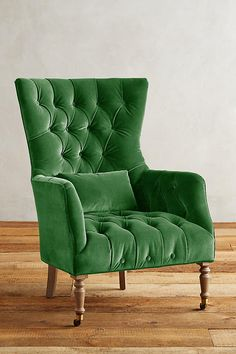 Green velvet tufted chair anthropologie