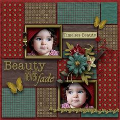 """""""Beauty"""" scrapbook page layout .good color combo and design Baby Scrapbook Pages, Kids Scrapbook, Christmas Scrapbook, Scrapbook Paper Crafts, Scrapbook Cards, Picture Scrapbook, Scrapbook Photos, Scrapbook Layout Sketches, Scrapbooking Layouts"""