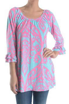 Damask Print Ruffle-Trimmed Tunic Top--Aqua/Pink