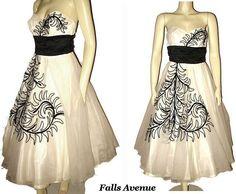 1950s Elegant Vintage Cocktail Dress White & Black Strapless Size Small - Sale Priced $140.00