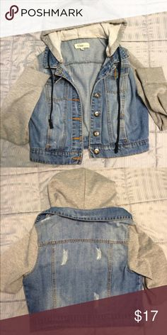 Jean/Hoodie Jacket This jacket has grey hoodie sleeves and hood with a blue jean middle. Fits slightly cropped, good condition but too small for me. Additional patches can be sowed/ironed on to jean material at buyer's request and slight price raise Jackets & Coats Jean Jackets