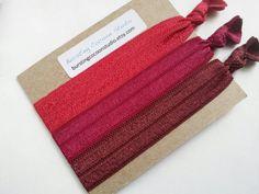 Marsala hair ties set of 3 foldover by BurstingCocoonStudio