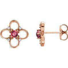 14kt Rose Pink Tourmaline & .04 CTW Diamond Earrings