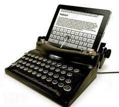 Can you believe this? An iTypewriter. I thought it was fake, but there's a video of someone typing verrrrry sloooowly with a similar model.