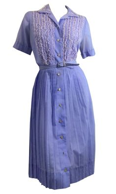 Lilac Lace Trimmed Pleated Shirt Waist Dress circa 1960s