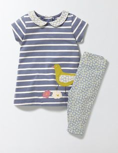 Friendly animals are here to make easy, everyday dressing more fun. This jersey dress and leggings set is really soft but made to last, with playful touches from the patterned collar to animal appliqués. Pair with a little sunhat for baby's first beach trip.