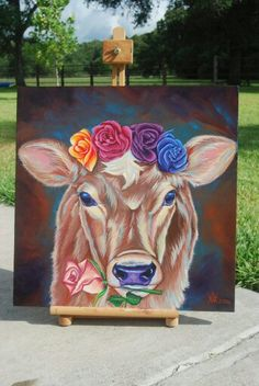 """""""Fleur,"""" Amanda Watson, 2016. Acrylic painting on stretched canvas. Cow with floral wreath on head. Jersey calf."""