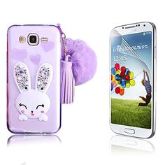 Galaxy J5 CaseJ500H J500M Not Fit J510 Bonice Crystal Clear Soft TPU Cartoon Rabbit Bling Diamond Ear Kickstand Silicon Case with Hairball Pompon Wristlet Hand Strap  Screen Protector Purple *** Visit the image link more details. (Note:Amazon affiliate link)
