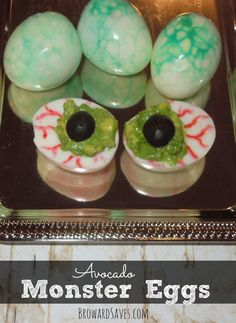 Halloween Treat: Avocado Monster Egg Recipe. Deliciously easy Bloody Eyes makes this ghoulish dish perfect for kids and adults! Easy step-by-step technique