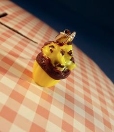 Polymer cupcake charm Clay lemon and chocolate by KooshyJewellery, £3.50