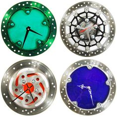 Cool idea. I want  one...  Artist and avid motorcyclist Michole Madden added entrepreneur to her resume when she combined her passions to create reCycle Clocks. Instead of art stores, she frequents motorcycle repair shops for supplies and transforms old parts into rugged wall clocks, outfitted with new hands and fresh candy colors.