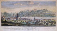 Village Antiques: Lausanne en Suisse - 18th Century City View