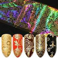 16 Sheets Bollywood Gold Flower Laser Nail foils Modern Boho Mandala Mehndi Henna Hand Nail Art Gold Leaves Aztec Bracelets Dream Catcher Elephant Metallic Gold New Orleans Saints Decor Nail Art Sky Nails, Foil Art, Henna Tattoo Designs, Foil Nails, Nail Art Stickers, Nail Manicure, Nail Polish, Nail Decorations, Modern Boho