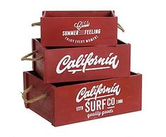 Set de 3 cajas de madera - rojo y blanco