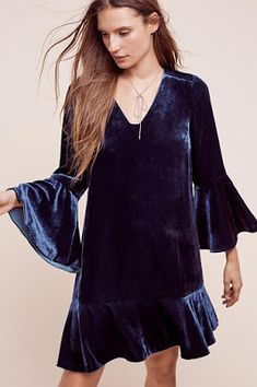 NWT Bellbloom Velvet Shift Dress by HD in Paris Anthropologie, size 8 Shift Dresses, Bell Sleeve Dress, Bell Sleeves, Sleeved Dress, Dress P, Swing Dress, Party Dress, One Clothing, Boots Clothing