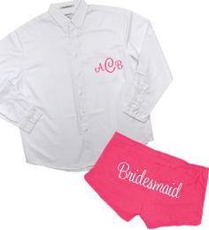 Monogrammed button-down shirt with Bridesmaid shorts - the perfect getting ready outfit!