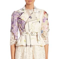 Alexander McQueen Embroidered Leather Moto Jacket ($4,197) ❤ liked on Polyvore featuring outerwear, jackets, apparel & accessories, asymmetrical leather jackets, floral embroidered jacket, moto jackets, leather motorcycle jacket and pink moto jacket