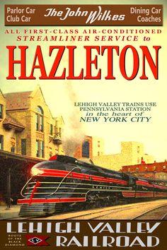 Lehigh Valley Railroad JOHN WILKES Train New Retro by PosterDog, $42.00