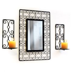 Swirl Mirror and Candle Holders