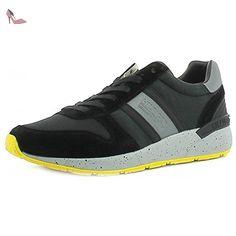 Tommy Hilfiger EM56821669 Sneakers Homme Croûte De Cuir Noir 44 - Chaussures tommy hilfiger (*Partner-Link)