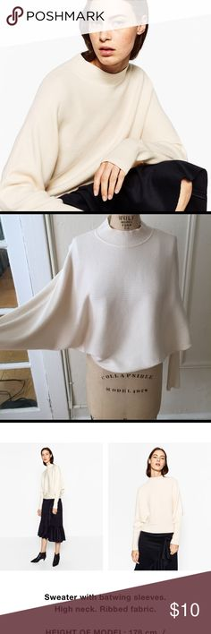 "Zara Cream Color Batwing Sweater (size small) I bought this a few months ago and wore it once.  Great condition.  Size small.  Super soft and cozy.  Color is called ""Ecru"".  Still in Zara stores now. Closet cleaning for spring! Zara Sweaters Shrugs & Ponchos"
