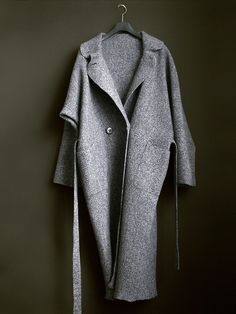 Long Demiseason Coat  Spring Melange Grey Coat by zuagag on Etsy