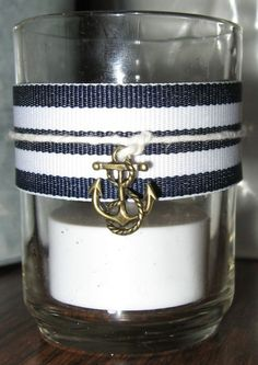 Nautical tealight candles for reception : wedding beach candles decor ivory nautical navy reception Votive Candles ( Jen would love this)