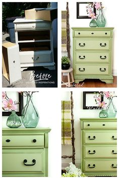 Curbped Dresser In Farmhouse Green Before And After Unique Furniture Repurposed