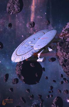 Nebula-class Starship Through The Rock Garden