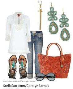 Cute outfit for an evening of fun.<3 I am in loove with these turquoise earrings!! (: