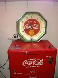 Antique Electric Neon Coca Cola Clock Octagon