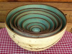 LD Wolfe Pottery mint insides. Bowl in Bowl in bowl..