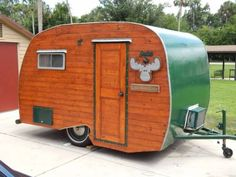 custom 1965 scotty serro - I wonder if we could re-do the exterior like this. The cabin style interior is cute, too.