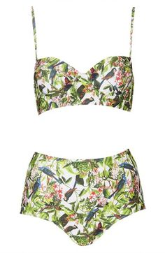 Topshop Leaf Print High Rise Bikini available at #Nordstrom