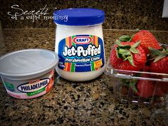 Fruit Dip - One jar of marshmallow creme One container strawberry cream cheese Mix both ingredients well in a bowl and serve with strawberries, or almost any kind of fruit. Store leftovers (if there are any) in fridge. Strawberries In Containers, Strawberries And Cream, Yummy Treats, Sweet Treats, Yummy Food, Tasty, Delicious Fruit, Yummy Yummy, Fun Food