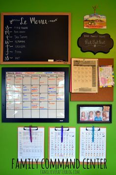 Bulletin board needs to be bigger for important school papers/menus/schedules, invitations, etc.and I like her chore clipboards Family Ever After.: Family Organization Center, Kid of the Day, and Family…