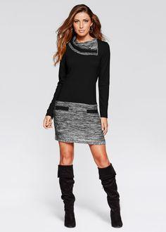 Gebreide jurk zwart/zwart mêlee - BODYFLIRT boutique nu in de onlineshop van bonprix.nl vanaf ? 27.99 bestellen. Mooi gebreide jurk in getailleerd model met ...