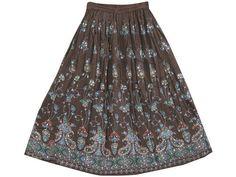 """Boho Hippie Skirt Dark Brown Sequin Skirt Designer Gypsy Skirt Long Skirt 36""""   eBay $24.99"""