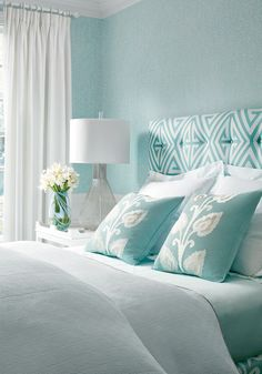 Basketry from Bridgehampton Collection | Thibaut House Of Turquoise, Bedroom Turquoise, Turquoise Headboard, Turquoise Bedroom Walls, Aqua Walls, Turquoise Home Decor, White Headboard, White Curtains, Master Bedroom Design