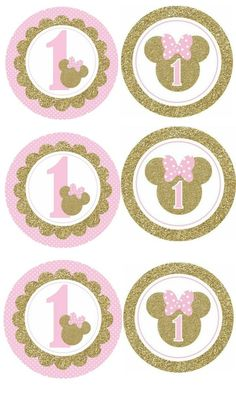 Mini Mouse 1st Birthday, 1st Birthday Cake Topper, Baby Girl 1st Birthday, Girl Birthday Themes, Minnie Mouse Party Decorations, Minnie Mouse Theme Party, Minnie Mouse Birthday Invitations, Minnie Mouse Stickers, Minnie Mouse Pink