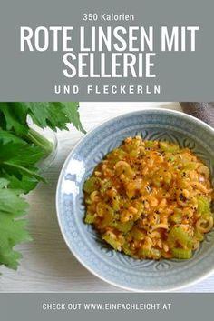 Schnelles One-Pot-Gericht mit nur drei Zutaten: rote Linsen, Sellerie und Nudeln