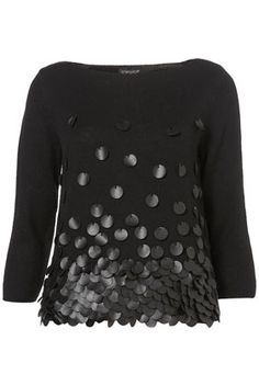 Topshop Knitted Leather Sequin Top