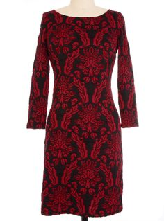 Blood-red and Black Damask Darkness Dress by BB Dakota | Dresses | PLASTICLAND