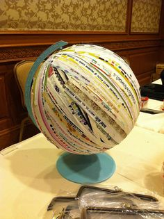 Selvage globe! Every sewing room needs one of these! I spy 3 Sisters selvage...