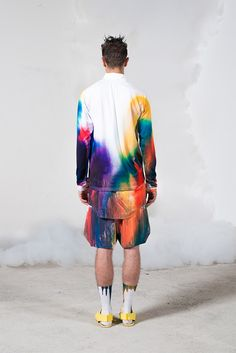 rainbow multi colour dip dye watercolour shirt shorts, menswear Julian Zigerli ss2014