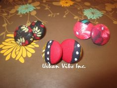 Urban Button Earrings Set of 3  New Red by snchastang25 on Etsy, $22.00